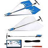 Electric Paper Plane Children Creative Folding Diy Paper Airplanes Conversion Kit Motor Electric Paper Plane Aircraft Model Toy Fun Outdoor Educational Toys Perfect Present for Kids Adults (Blue)