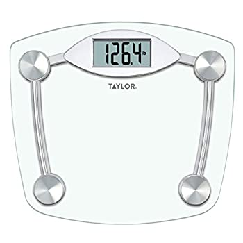Taylor Precision Products Digital Bathroom Scale Highly Accurate Body Weight Scale Instant On and Off 400 lb Sturdy Clear Glass with Chrome Finish Base
