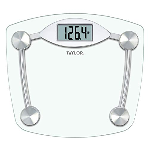Taylor Precision Products Digital Bathroom Scale, Highly Accurate Body Weight Scale, Instant On and Off, 400 lb, Sturdy Clear Glass with Chrome Finish Base