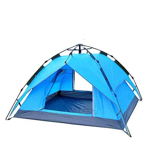 ZoSiP Outdoor Camp Folding Tent 3-4 Person Outdoor Rainproof Full Automatic Double Opening Camping Tent (Color : Blue, Size : 200x200x135cm)