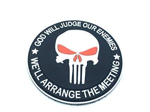 Patch Nation Punisher God Will Judge Our Enemies Schwarz PVC Airsoft Paintball Klett Emblem Abzeichen