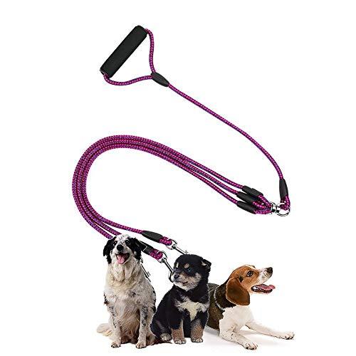 Happy-L Heimtierbedarf, 3 in 1 Nylon-Zugseil-Schoßhund führt mit Griff, Länge: 124cm (Farbe : Magenta)