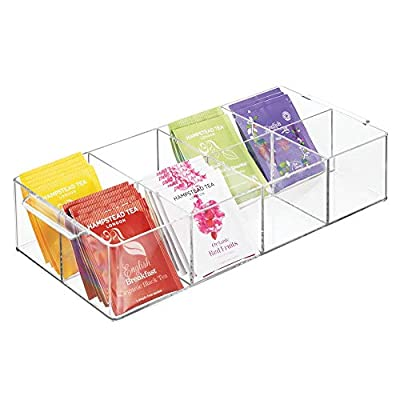 mDesign Compact Plastic Tea Storage Organizer Caddy Tote Bin - 8 Divided Sections, Built-in Handles - Holder for Tea Bags, Small Packets, Sweeteners - BPA free - Clear