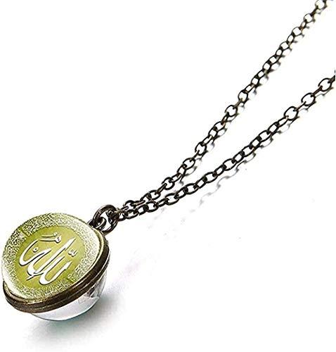 WYDSFWL Collar musulmán islámico Dios Alá Collar 16 mm Bola de Cristal de Doble Cara Colgante Clavícula Collar de Cadena de eslabones de Metal Collar de Regalo religioso Longitud 50 cm Collar