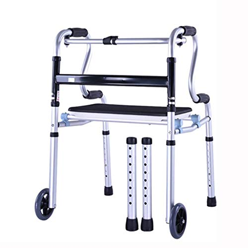 RVTYR Aluminium Folding Laufgestell, Gehen Mobilitätshilfe, Walker mit wasserdichtem Sitz und 2 Rädern gehhilfen senioren