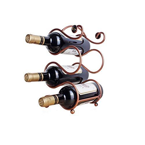 CHFQ Soporte para Almacenamiento de Vino Soporte para Botella de Vino Independiente Estante para Vino de Metal Diseño Elegante para Almacenamiento en la Cocina, Bar, Bodega, Armario, despensa (EST