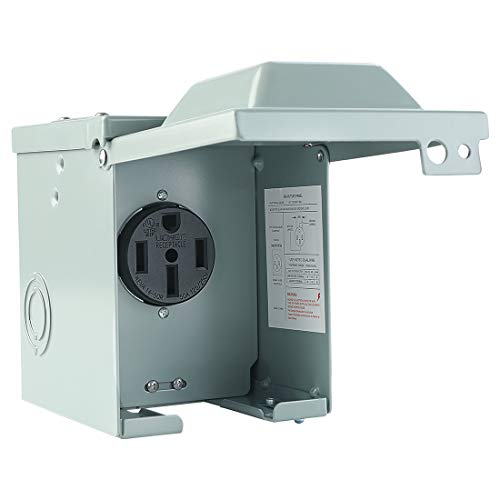 Livtor 50 Amp 125/250 Volt RV Power Outlet Box RV Receptacle, Enclosed Lockable Weatherproof Outdoor Electrical NEMA 14-50R Receptacle Panel for Recreational Vehicles (RVs) and Travel Trailers