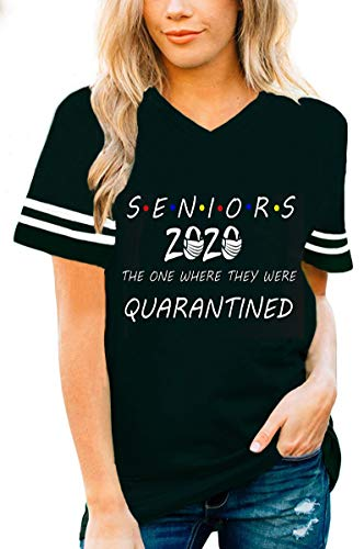 Roshop Funny Senior 2020 Quarantined T-Shirt Many Color Women (L, Black Senior 2020 Quarantined Shirt)