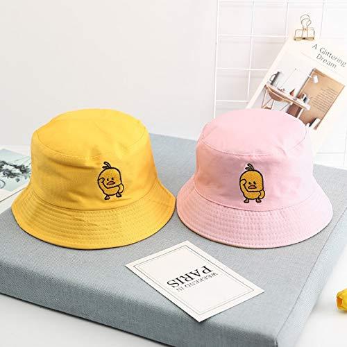 Nuevo Sombrero de Cubo de Dos Lados para niños y niñas, Visera de Hip Hop a la Moda para Hombres y Mujeres, Sombrero de Pescador de Verano, Sombrero de niño Triste-Yellow Pink