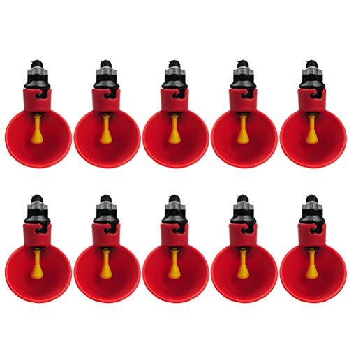POPETPOP Abbeveratoio Automatico per Pulcini Quaglie Piccione Anatra e avicoli 10 Pezzi (Rosso)