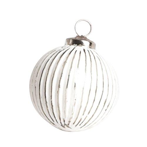 SARO LIFESTYLE XM418.S 1-Piece Glass Ball Ornament Set, 3-Inch, Silver, Round