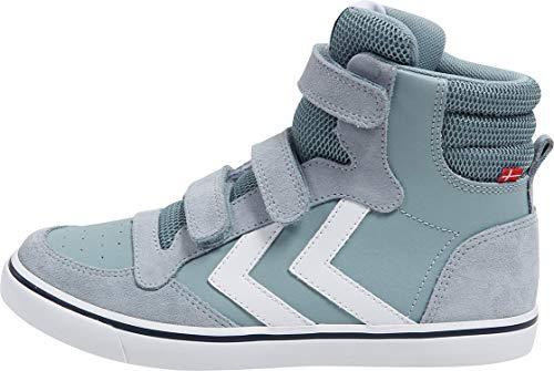 hummel Unisex-Kinder Stadil Leather HIGH JR Hohe Sneaker, Blau (Arona 7014), 34 EU