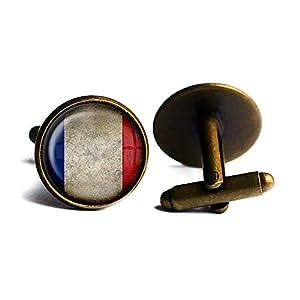 France French Flag Frankreich Französische Flagge Antike Bronze Manschettenknöpfe