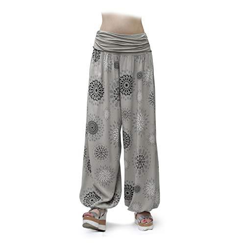 Gloop HS201701 - Pantalones bombachos para mujer, de verano, tipo harén, para tiempo libre, diseño de flores o colores lisos pardo 13024a24.1. XL/3XL