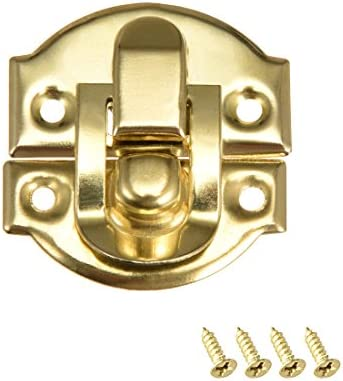 uxcell Box Latch Retro Style Small Size Golden Decorative Hasp Jewelry Cases Catch w Screws product image
