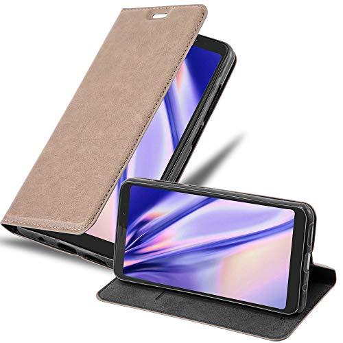 Cadorabo Hülle für WIKO View XL - Hülle in Kaffee BRAUN – Handyhülle mit Magnetverschluss, Standfunktion & Kartenfach - Hülle Cover Schutzhülle Etui Tasche Book Klapp Style
