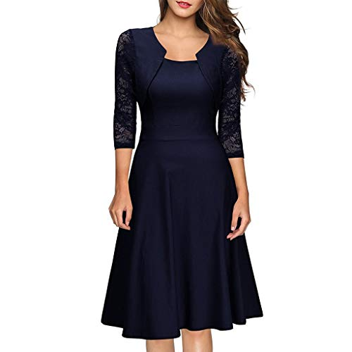 Kangma Women Floral Lace Formal Cocktail Party Long Sleeve Prom Bridesmaid Dress Navy