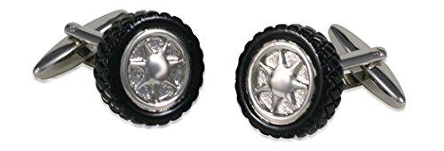Unbekannt Manschettenknöpfe Autoreifen Felge Autorad schwarz-silbern Plus Silberbox