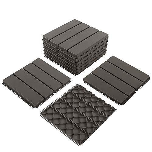 Azulejos para terraza de patio, 30,48 x 30,48 cm, compuesto de azulejos de revestimiento entrelazado, 4 listones de plástico para exteriores, 9 piezas, color marrón oscuro