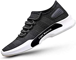 AADI Men's Casual Lace-Up Slip-On Sneakers Shoes (Black)