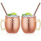 Hossejoy Moscow Mule Copper Mugs, Set of 2 100% Handcrafted Pure Solid Copper Mugs, 16 oz Food Safe Copper Cups with 2 Cocktail Copper Straws