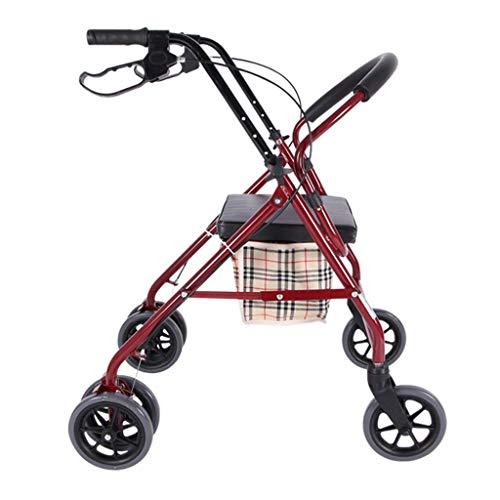 Abschließbare Bremsen Walker Medical Rollator Klapp- und Rückenstütze, Sitz mit 6 Rädern, für ältere Menschen, Senioren, Behinderte, Rot, Max. 150 kg