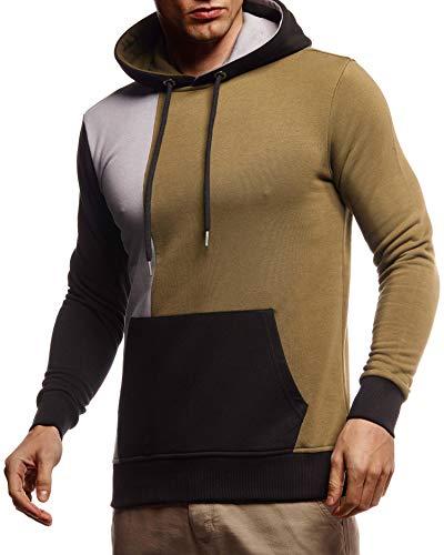 Leif Nelson Herren Hoodie Pullover mit Kapuze Kapuzenpullover für Männer Pulli Longsleeve Sweatshirt Langarm Slim Fit LN8350; Größe M, Khaki
