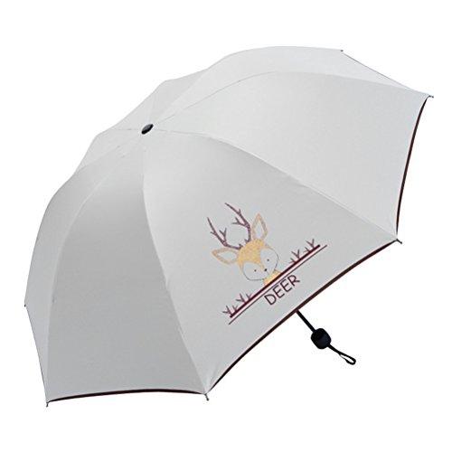Maibar Sonnenschirm UV Taschenschirme Stockschirme Frauen Anti-UV Tier Karikatur Gemalt Regenschirm Klappschirme Leicht Frauen Dame Kinder (Hirsch)