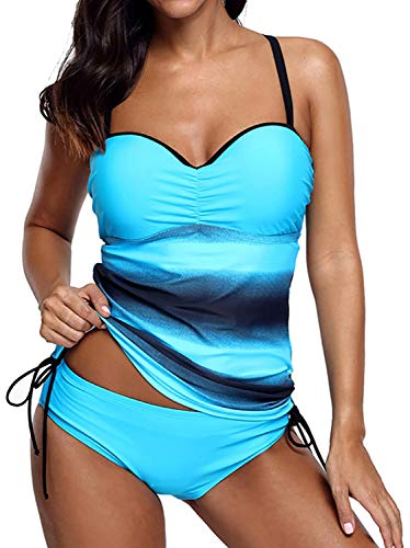 Socluer Damen Strap Badeau Tankini Set 2 Stück Sommer Strand Push Up Bikini Set Badeanzüge Bademode, Blau, XL (DE 42/44)