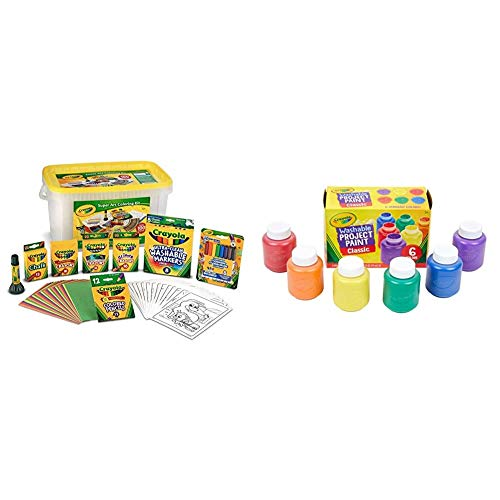 Crayola Super Art Coloring Kit, Tub Colors Vary, Amazon Exclusive, 100+ Pcs, Gift for Kids & Washable Kids Paint, 6 Count, Kids At Home Activities, Painting Supplies, Gift, Assorted