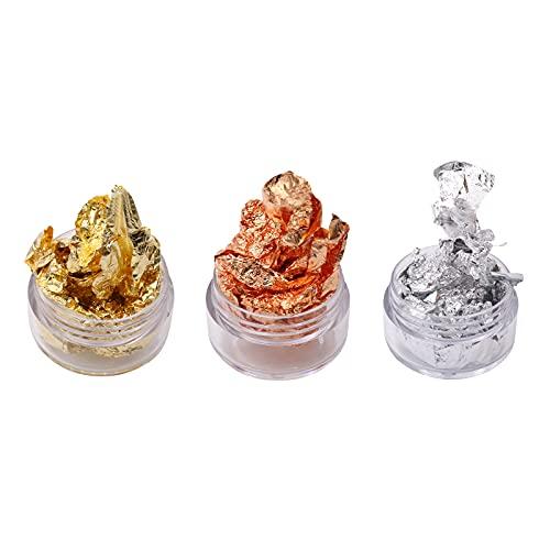 3 macetas de copos de papel de imitación para uñas, oro, plata y oro rosa, copos de oro decorativos para decoración de uñas de bricolaje como pegatinas y calcomanías