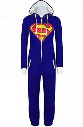 Minetom Mujer Hombre Unisexo Monos Superman Batman Encapuchado Disfraz Cosplay Sleepsuit Jumpsuits Azul ES 42