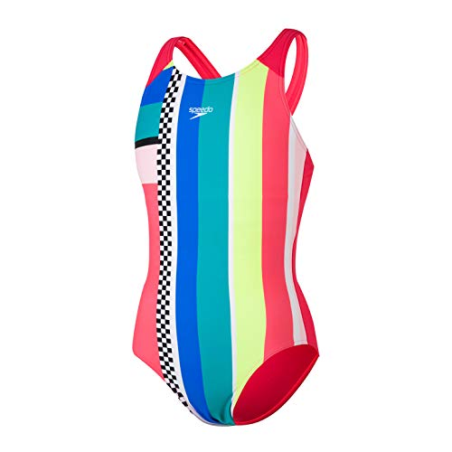 Speedo Digital Placement Pulseback, Swimsuit Bambina, Lava Red/Fluo Yellow/Cotton Candy/Jade/Bondi Blue/White/Black, 30 (11-12 YRS)
