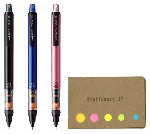 Uni Kuru Toga Auto Lead Rotation Mechanical Pencil Pipe Slide 0.5 mm, Body Color(Black/Blue/Pink), 3-pack, Sticky Notes Value Set