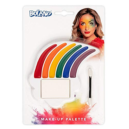 Boland 45104  Juego de maquillaje arco iris, paleta de maquillaje, 6 colores, con aplicador y esponja, disfraz, carnaval, fiesta temtica, Halloween