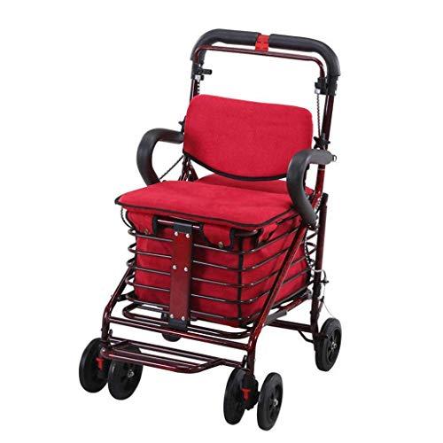 Wanderer für Senioren Shopping Trolley Carbon Steel Cart, Premium-Klappwagen mit Swivel-Rad- und Flanell-Taschen-Dienstprogramm Altwagen-Vierrad-Walker älterer Kinderwagen Rollator Walker, dauerhafte