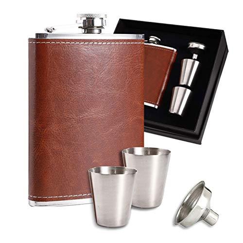 DIIQII 8 oz Fiaschetta Tascabile,Flask in Acciaio Inox con Imbuto e Due Tazze per Liquore Whisky Regalo per Arrampicata Campeggio Barbecue Bar Feste