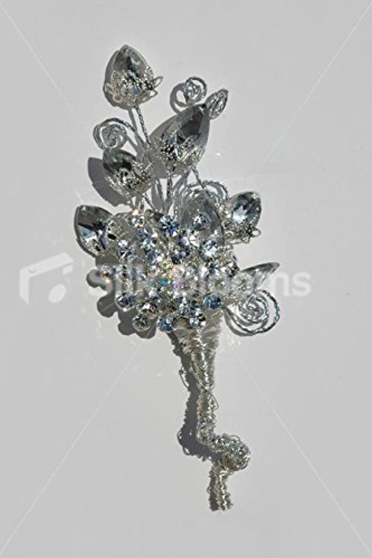 Moderno y transparente de cristal iridiscente ramillete de la boda