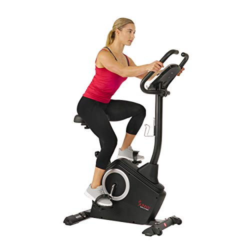 Sunny Health & Fitness Upright Exercise Bike with Electromagnetic Resistance, Device Holder, Programmable Monitor and Pulse Rate Monitoring - SF-B2883 (SF-B2883)