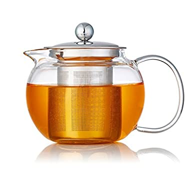 Yiwj Glass Teapot with Stainless Steel Infuser -Borosilicate Galss Teapots Loose Leaf Tea Pots Stove Microwave Safe, 34 Ounce/1000ml