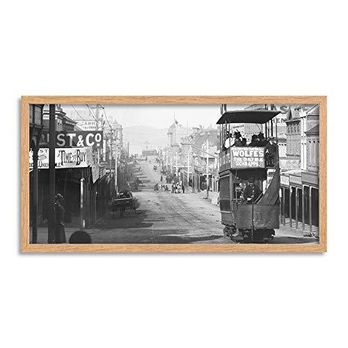 Looking Down Melville Street Hobart Tasmania 1920 Photo Framed Wall Art Print Long 25X12 Inch Calle Fotografía Pared