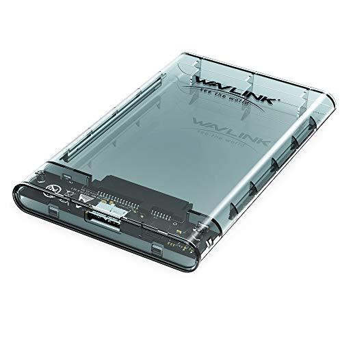 """WAVLINK Boîtier de disque dur externe 2,5 """"pour disque dur SATA SSD 2,5"""" 9,5 ou 7 mm, montage sans outil, accélération UASP [Transparent]"""