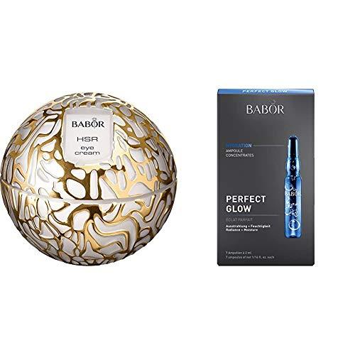BABOR HSR Extra Firming Eye Cream, luxuriöse Anti-Falten Augen-Creme, 1er Pack (1 x 30 ml) & AMPOULE CONCENTRATES Perfect Glow, Wirkstoffkonzentrat für müde Haut, extra Feuchtigkeit, 7 x 2 ml