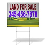Custom Personalized Yard Sign Land for Sale Phone Number Greenery Red Two Sides Print 24inx18in