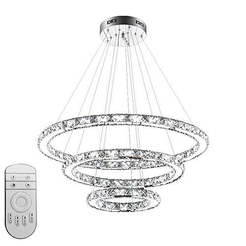 Froadp 72W Drei Ringe Kristall Hängelampe Deckenlampe Edelstahl Küche Pendelleuchte Schlafzimmer Kronchleuchter(Dimmbar, Ø20cm+Ø40cm+Ø60cm)
