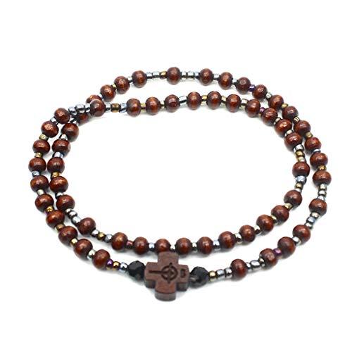 N/A. 2 modische Armbänder mit Holzperlen, Kreuz-Armbänder, Halsketten, Meditation, Gebetskette, katholisch, christlich, Yoga, Schmuck
