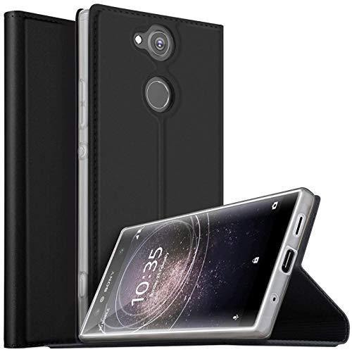 Verco Handyhülle für Xperia XA2, Premium Handy Flip Cover für Sony Xperia XA2 Hülle [integr. Magnet] Book Hülle PU Leder Tasche, Schwarz