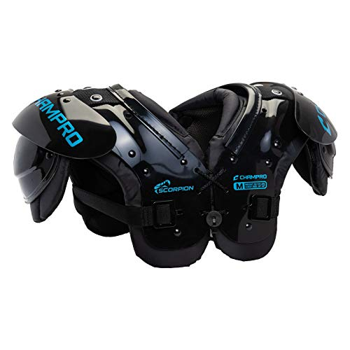 CHAMPRO Youth Scorpion Shoulder Pad, Black, Blue, Under 40 lbs (FSP5)
