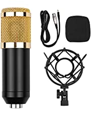 Decdeal Professional Cardioid Condenser Microphone Kit with Audio Cable Metal Shockproof Clamp High Sensitivity Low Noise Mic for Vocal Piano Instrument Live Streaming Broadcasting Gold