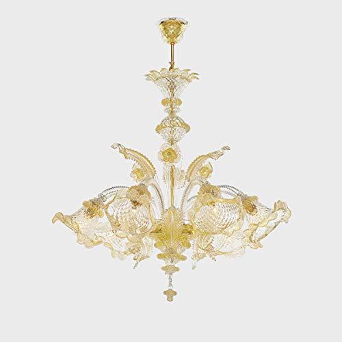 Atena Oro Lampadario in Vetro di Murano (Oro, 5 Luci)